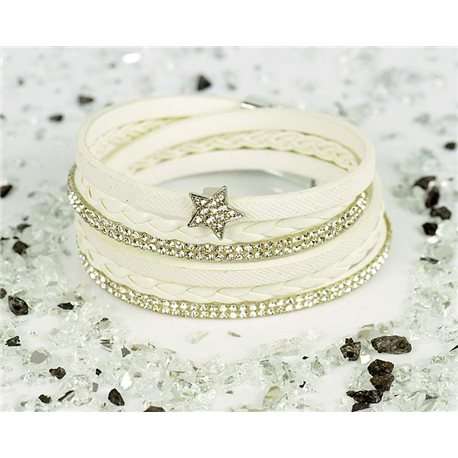 Cuff Bracelet Fashion Chic Leather Look and Rhinestone L38cm Magnetic Clasp New Collection 76323
