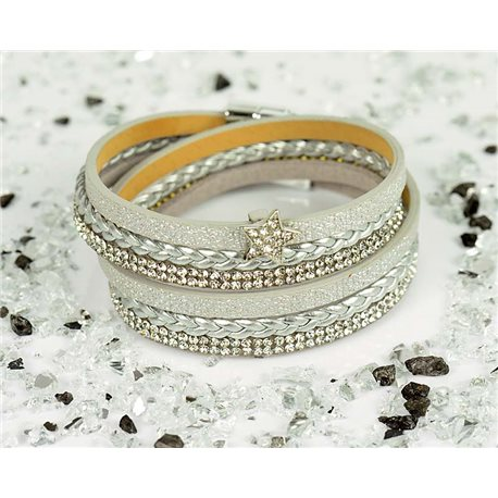 Cuff Bracelet Fashion Chic Leather Look and Rhinestone L38cm Magnetic Clasp New Collection 76325