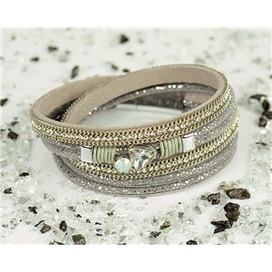 Cuff Bracelet Fashion Chic Leather Look and Rhinestone L38cm Magnetic clasp New Collection 76330
