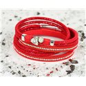 Cuff Bracelet Fashion Chic Leather Look and Rhinestone L38cm Magnetic Clasp New Collection 76331