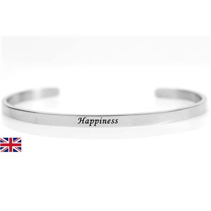 stainless steel message bracelet 76416 Message: Happiness
