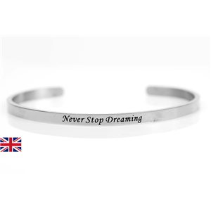 stainless steel message bracelet 76418 Message: Never Stop Dreaming