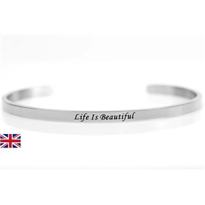 stainless steel message bracelet 76420 Message: Life Is Beautiful
