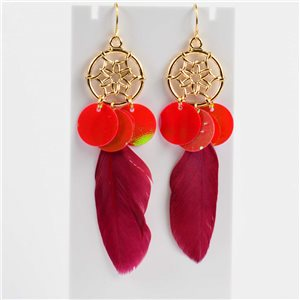 1p Boucles Oreilles Pendantes à crochet 10cm Original Collection Plumes 2019 76492