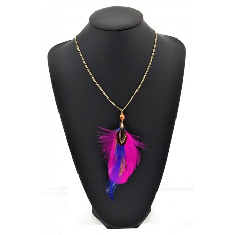 Feather Necklace pendant on a gold chain L60 cm 62313
