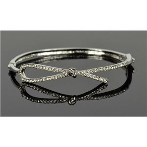 Silver metal bracelet Collection Chic set with Rhinestones D55mm clip clasp 76669