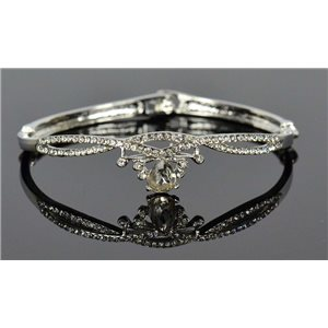 Silver metal bracelet Collection Chic set with Rhinestones D55mm clip clasp 76673