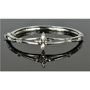Silver metal bracelet Chic Collection set with Rhinestones D55mm clip clasp 76649
