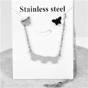 Pretty Butterfly Set in Stainless Steel. Chain pendant 51cm with 1p of BO to nail 76643