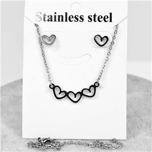 Pretty Set 3 Hearts in Stainless Steel. Chain pendant 51cm with 1p of BO to nail 76647