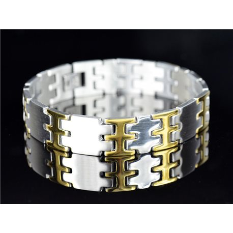 Bracelet gourmette en Acier Inoxydable Collection 2019 Gold & Silver 14mm 21cm 76641