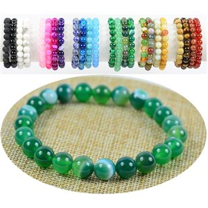8mm Agate Agate stone beaded bracelet on elastic thread 76895