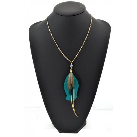 Feather Necklace pendant on a gold chain L60 cm 62321