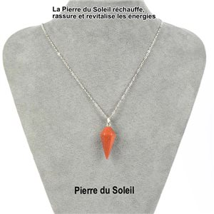 Necklace Pendulum Pendant 30mm Stone of the Sun on silver chain 76915