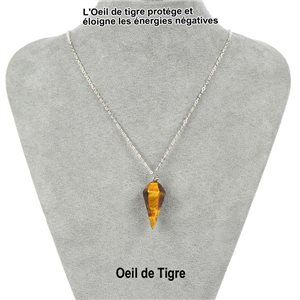 Necklace Pendulum Pendant 30mm Stone Eye of Tiger on silver chain 76937