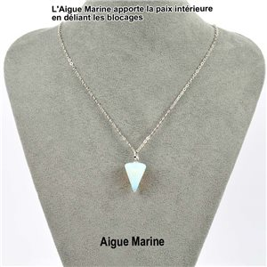 Necklace Pendulum Pendant 20mm Aquamarine Stone on silver chain 76905