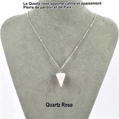 Necklace Pendulum pendant 20mm Rose Quartz on silver chain 76906