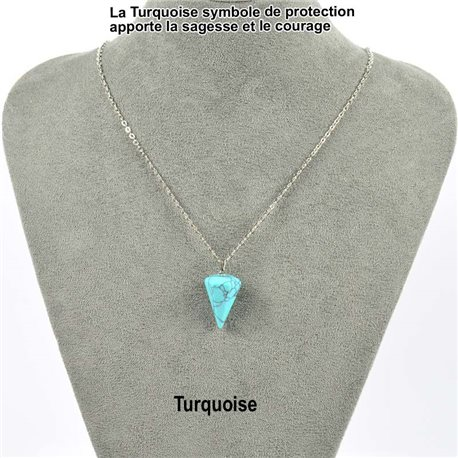 Pendant Necklace Pendant 20mm Turquoise Stone on silver chain 76908