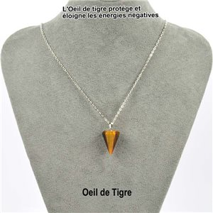 Necklace pendulum pendant 20mm Tiger's eye on silver chain 76912