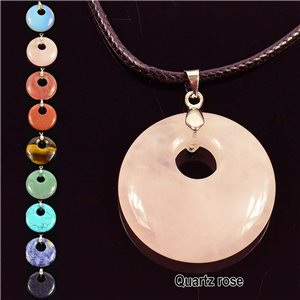 Necklace Donuts Pendant 30mm Rose Quartz Stone on waxed cord 76928