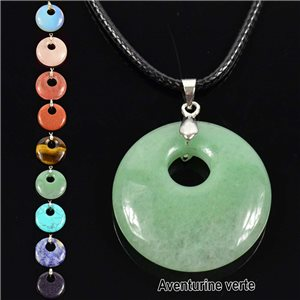 Necklace Donuts Pendant 30mm Green Aventurine Stone on waxed cord 76932