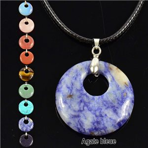 Necklace Donuts Pendant 30mm Blue Agate Stone on waxed cord 76934