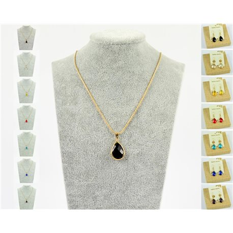 Pendant necklace 20mm Crystal Color on gold chain soft mesh snake L47-51cm 76938