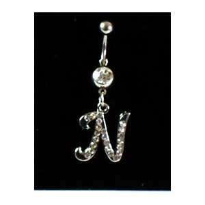 Piercing Strass Collection Steel 316L Letter N 32447