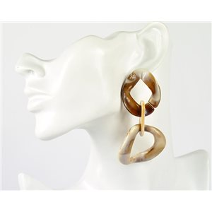 1p de Boucles Oreilles Pendantes à Clou 9cm en acrylique Fashion Colors 76972