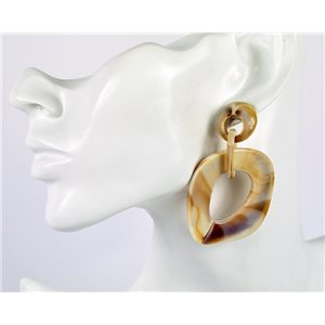 1p de Boucles Oreilles Pendantes à Clou 7cm en acrylique Fashion Colors 76966