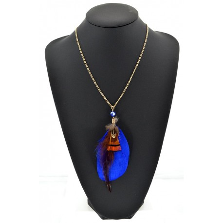 Feather Necklace pendant on a gold chain L60 cm 62325