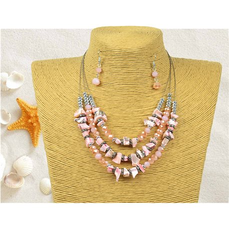 New Collection Parure Pendant Necklace 3 Row Beads Shells L44-48cm 77158