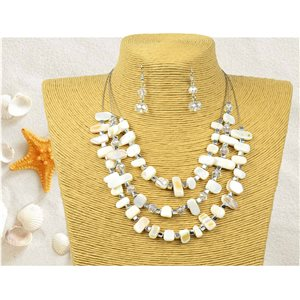 New Collection Parure Pendant Necklace 3 Row of Pearls Shells L44-48cm 77150