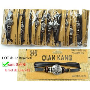 Lot 12 Bracelets Man multirang on sliding knot Biker Fashion 0.60 € piece 77456