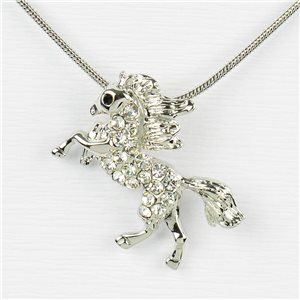 Rhinestone Pendant Necklace IRIS Silver Color Chain snake mesh L40-45cm 77201