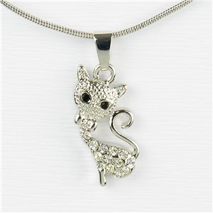 Rhinestone Pendant Necklace IRIS Silver Color Chain snake mesh L40-45cm 77204