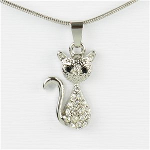 Rhinestone Pendant Necklace IRIS Silver Color Chain snake mesh L40-45cm 77205