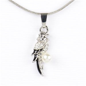 Rhinestone Pendant Necklace IRIS Silver Color Chain snake mesh L40-45cm 77209