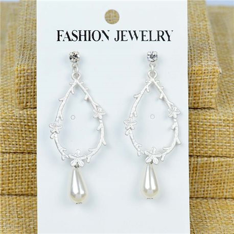 1p Earrings Nail 60mm metal color SILVER New Graphika 77428