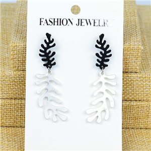 1p Earrings Nail 50mm metal color SILVER New Graphika 77364