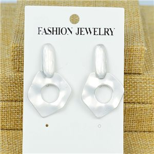 1p Earrings Nail 40mm metal color SILVER New Graphika 77384