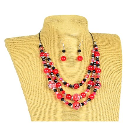 New Collection 2019-2020 Parure Collier 3 rangs de Perles en Suspension L44-48cm 77162