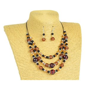 New Collection Parure Collier 3 rangs de Perles en Suspension L44-48cm 77163