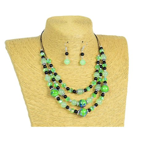 New Collection 2019-2020 Adornment Necklace 3 rows of Pearls in Suspension L44-48cm 77166