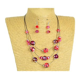 New Collection 2019-2020 Set Necklace 3 rows of Pearls in Suspension L44-48cm 77169