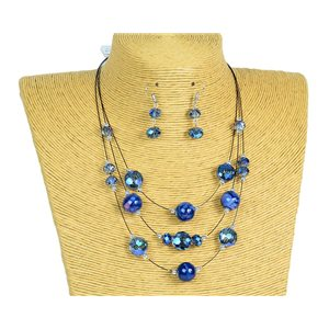 New Collection 2019-2020 Adornment Necklace 3 rows of Pearls in Suspension L44-48cm 77171