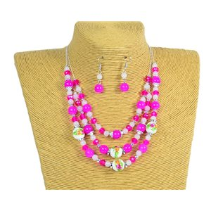New Collection Parure Collier 3 rangs de Perles en Suspension L44-48cm 77176