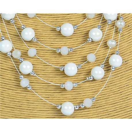 New Collection 2019-2020 Adornment Necklace 5 rows of Pearls in Suspension L44-48cm 77180