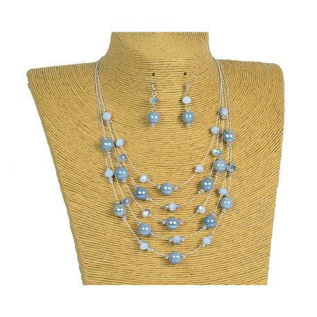 New Collection 2019-2020 Set Necklace 5 rows of Pearls in Suspension L44-48cm 77181