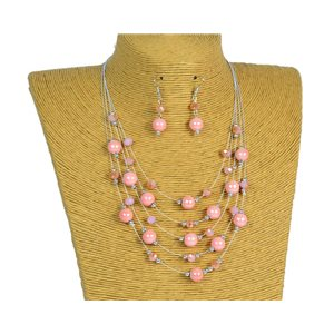 New Collection 2019-2020 Set Necklace 5 rows of Pearls in Suspension L44-48cm 77183